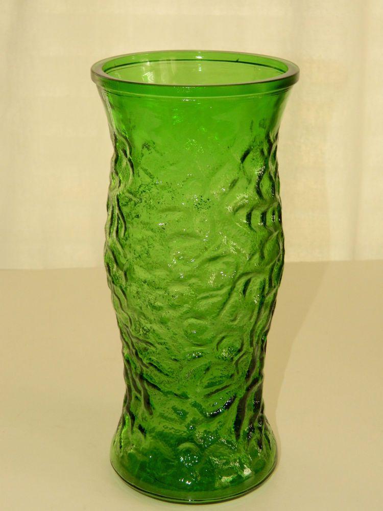 Vintage Hoosier Green Glass Textured Flower Vase 95 Tall Good