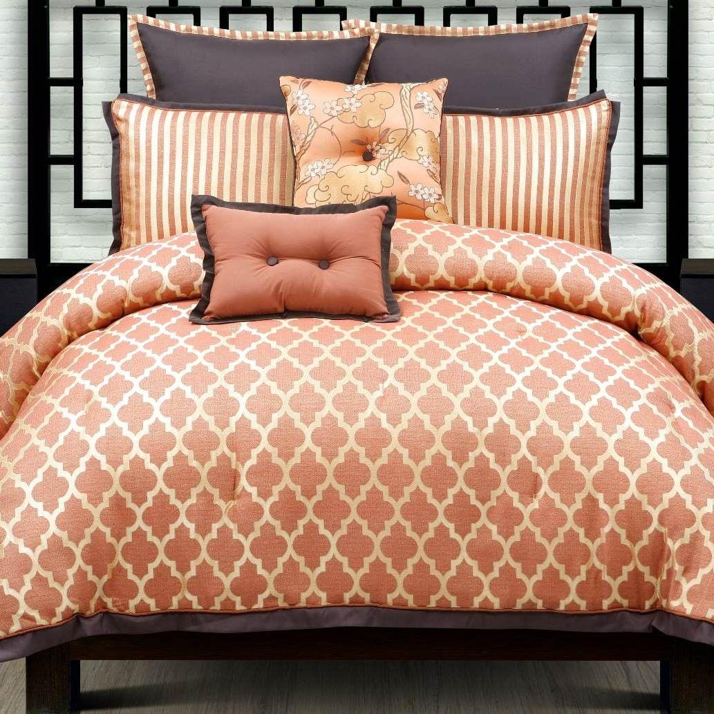 westgate tangerine orange geometric comforter set  colors of zen  - westgate tangerine orange geometric comforter set