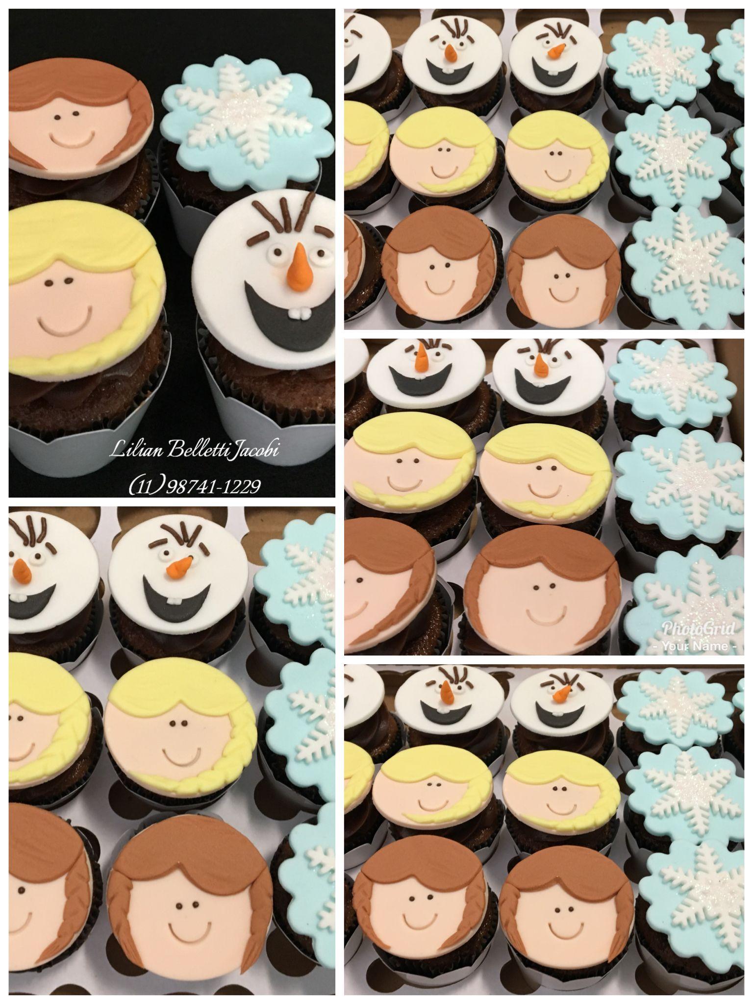 Minicupcakes com tema Frozen. #aniversario #frozen #olaf #cupcakes ...