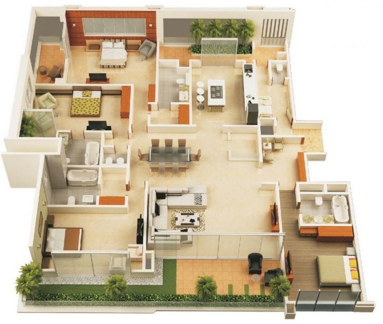 planos de casas de dos pisos con 4 recamaras