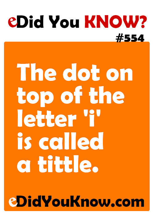 The dot on top of the letter 'i' is called a tittle. eDidYouKnow