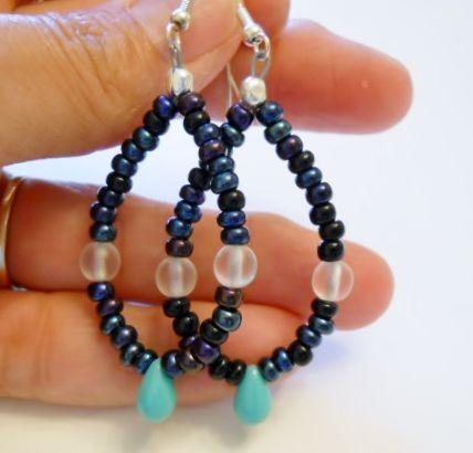 Teardrop Glass Beaded Loop Earrings | Accessoire - Jewelry on ArtFire