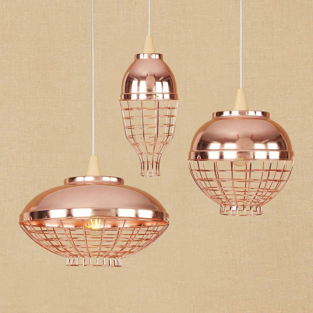 Plated Rose Gold Iron Pendant Lights 3 Styles Modern Industrial Vintage Metal Birdcage Creative Hanging Lamp For Restaurant Cafe Iron Pendant Light Pendant Lighting Glass Ball Pendant Lighting