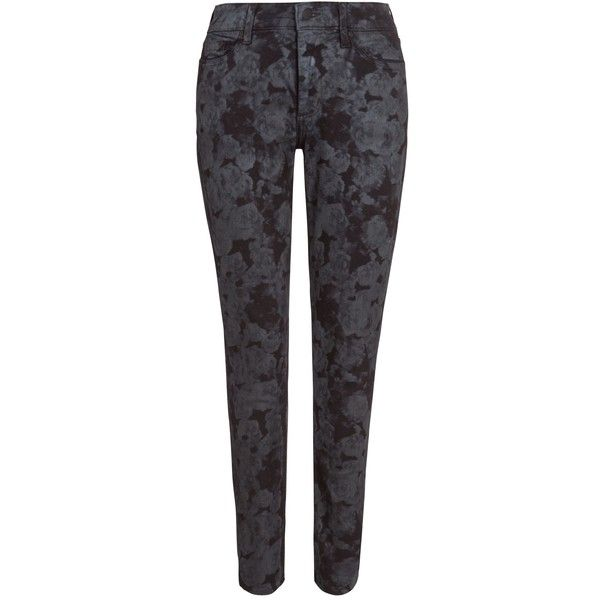 NYDJ Floral Jeggings, Indigo ($70) ❤ liked on Polyvore featuring pants, leggings, high waisted denim leggings, cotton print leggings, high-waisted leggings, high rise jeggings and high waisted jean leggings