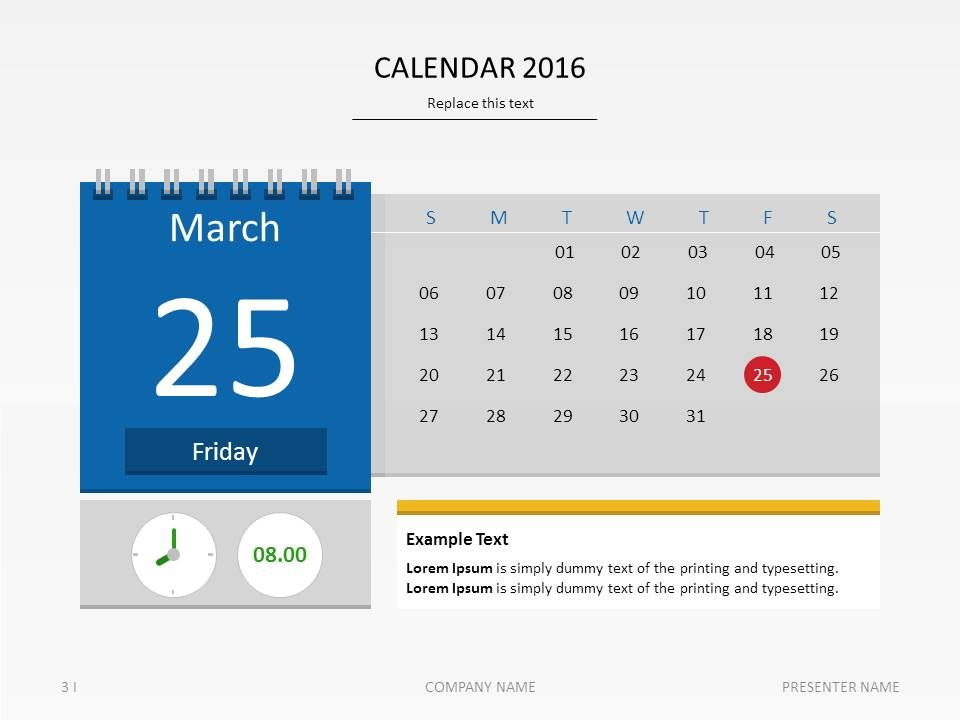 Calendar  Presentation Template Presentationdesign Date