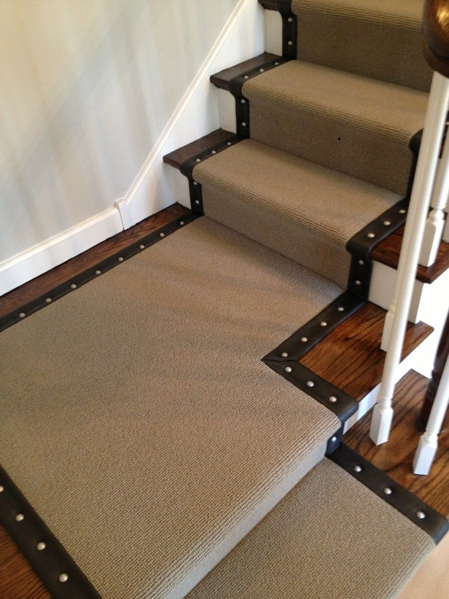 Stair Runner With Faux Leather Wide Binding Upholstery Studs