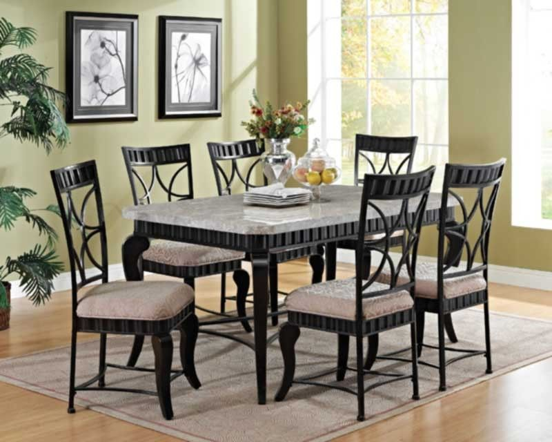 Acme Furniture  Lorencia 7 Piece Rectangle Dining Table Set Unique Acme Dining Room Set Inspiration