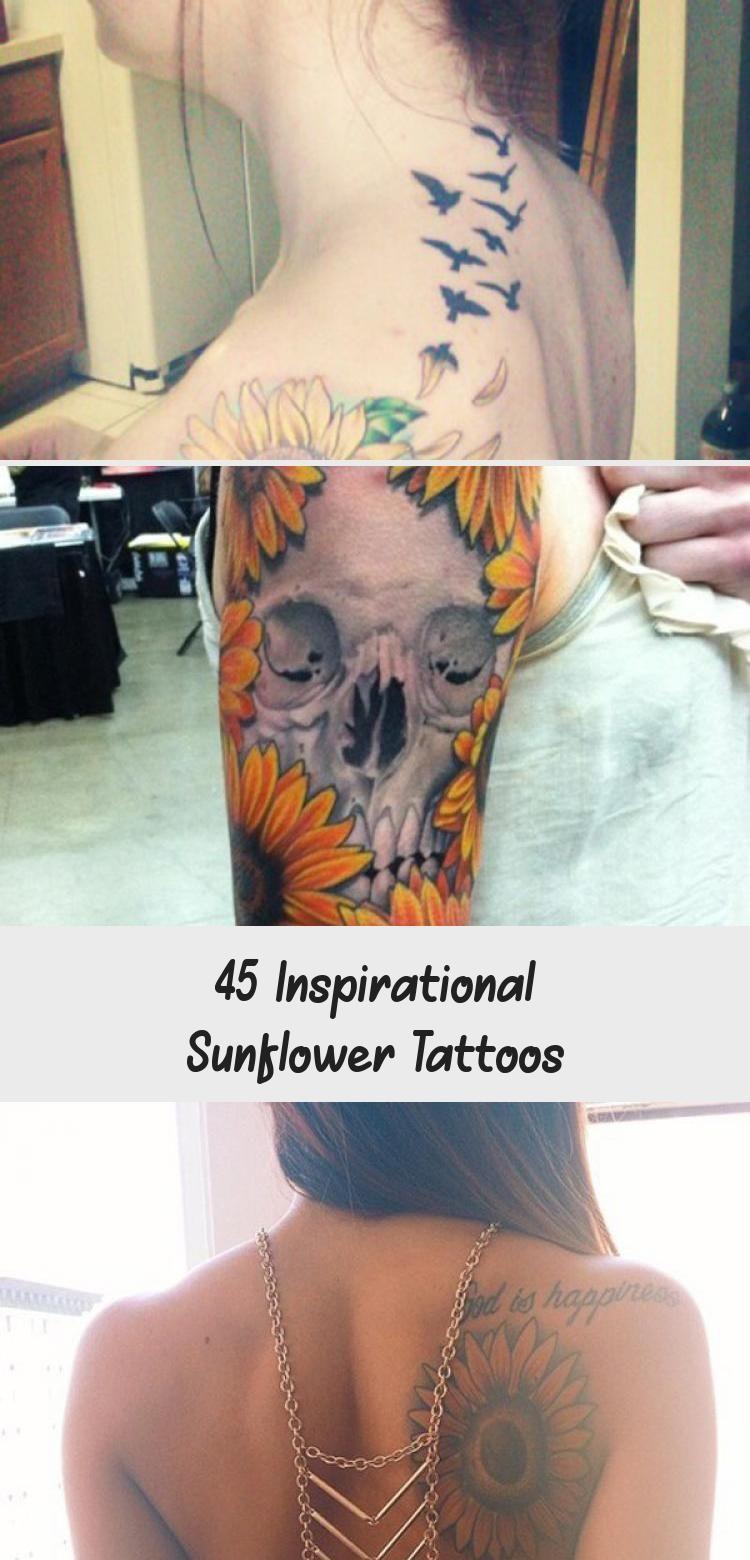 Photo of sunflower tattoo – 45 Inspirational Sunflower Tattoos #sunflowertattoosBehindEar…
