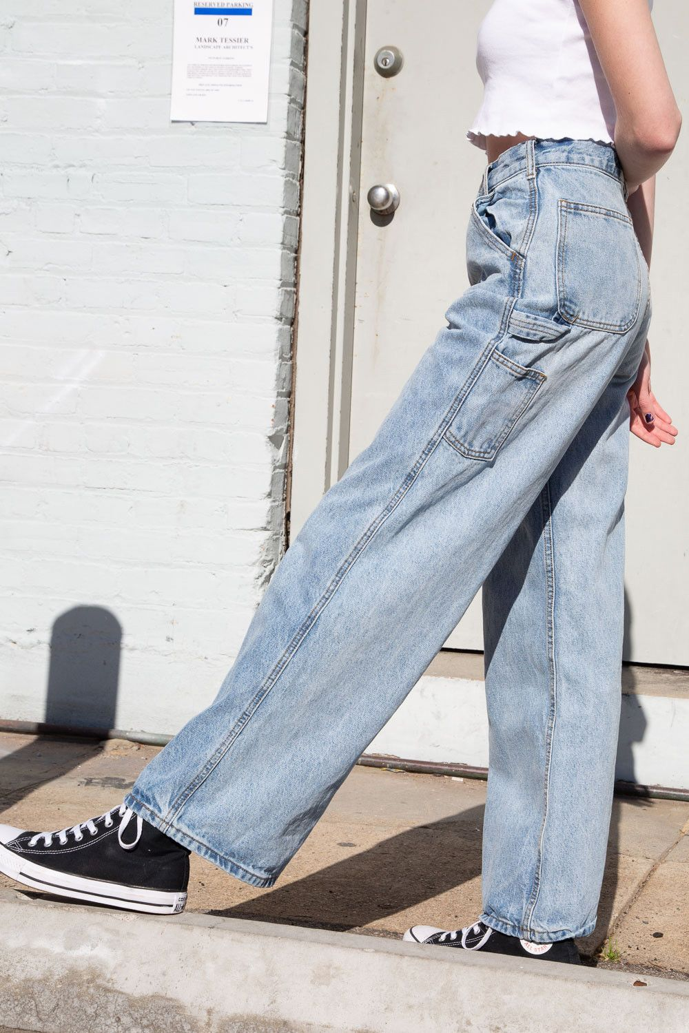 Girl Juniors Relaxed Fit Railroad Striped Carpenter Pants Blue