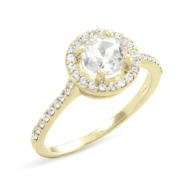 10k Yellow Gold Natural Round White Topaz And White Sapphire Halo Ring Sparkle Jade Fancy Engagement Rings Cool Wedding Rings Gorgeous Wedding Rings