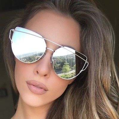 4f5b010c3d7 LUXE Silver Mirrored Reflective Aviator Sunglasses Celeb DESIGNER Kylie  MARBS