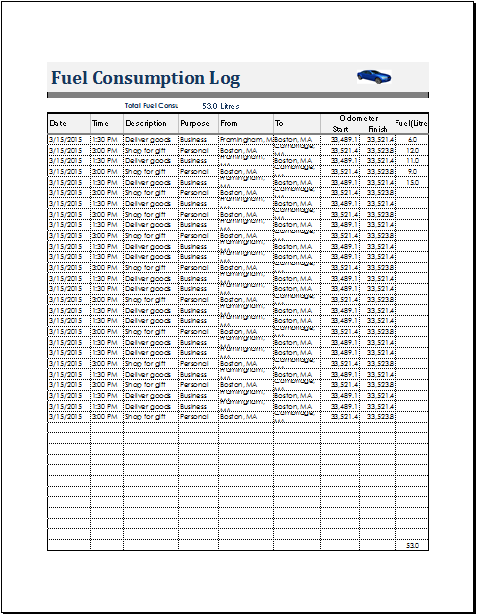 Fuel Consumption Log Template For Ms Excel Calc Document Hub Templates Sample Resume Bill Template