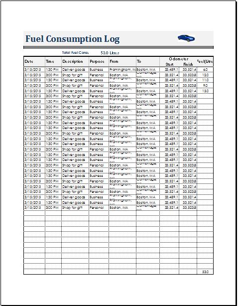 bill log template