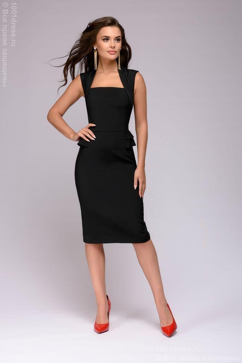 1fb32b75f1e Черное платье-футляр с драпировкой на талии купить в интернет-магазине  1001DRESS