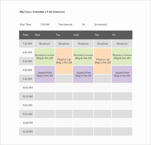 30 Class Schedule Template Word In 2020