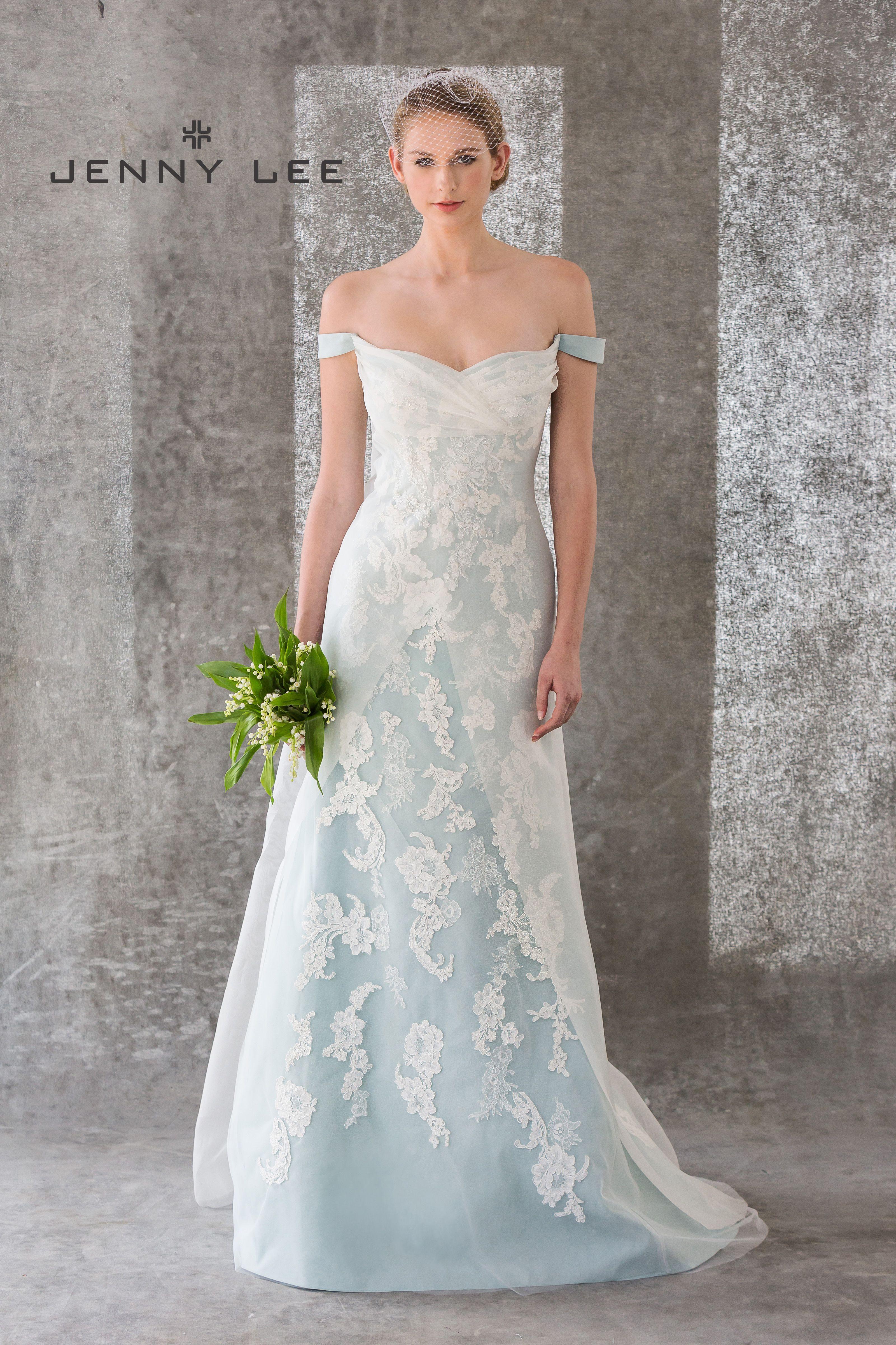Lace wedding dress designers  Jenny Lee Bridal Spring     Aqua Blue Off Shoulder Silk