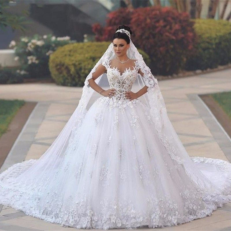 a8d390a47 Barato Vestido de noiva Princesa Vestidos de Casamento Ver Através Corpete  Sexy Vestidos de casamento Real abiti da Cauda de Luxo Robe de Mariage  Sposa