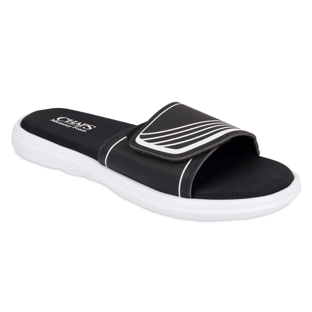 6bce1c6be3e85 Men's Chaps Striped Memory Foam Slide Sandals, Size: XL, White ...