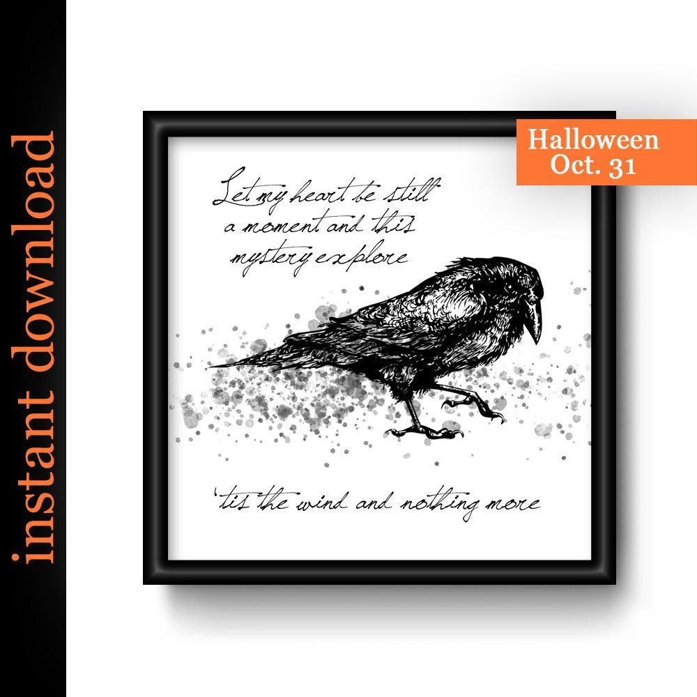 The Raven Quote Printable Edgar Allan Poe Quote Wall Art For Etsy Wall Art Quotes Black And White Art Drawing Art