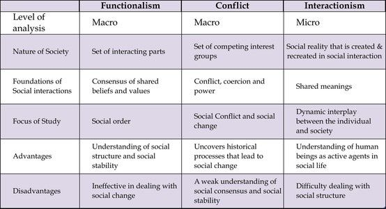 functionalist conflict and interaction perspectives on mass According to functionalist perspective, the society is working in an organized way, and all the groups living in the society observe values and norms where functionalist see the normal state of society as one of stable equilibrium, conflict theorists see society in a continuous state of conflict between.