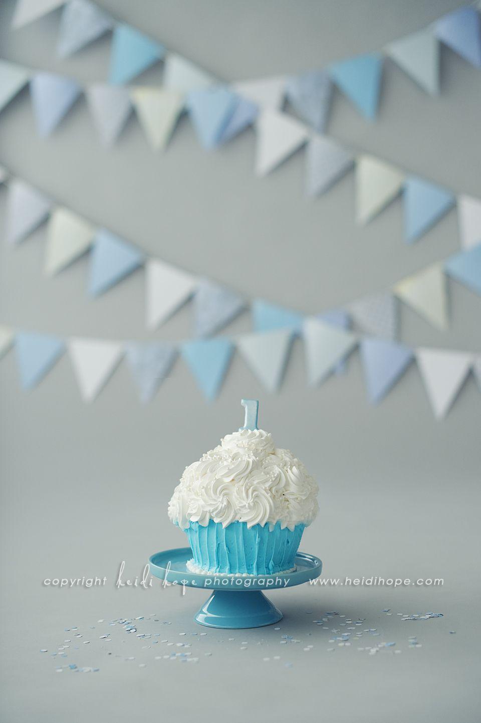 Simple Blue White Classic Smash Cake Set Up