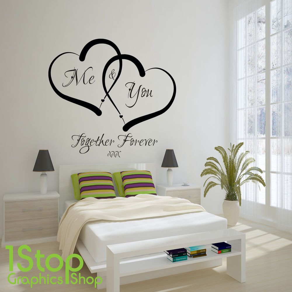 me and you love heart wall sticker quote home wall art decal x338