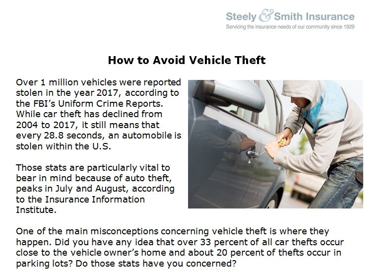 How to Avoid Vehicle Theft   Car insurance, Compare quotes ...