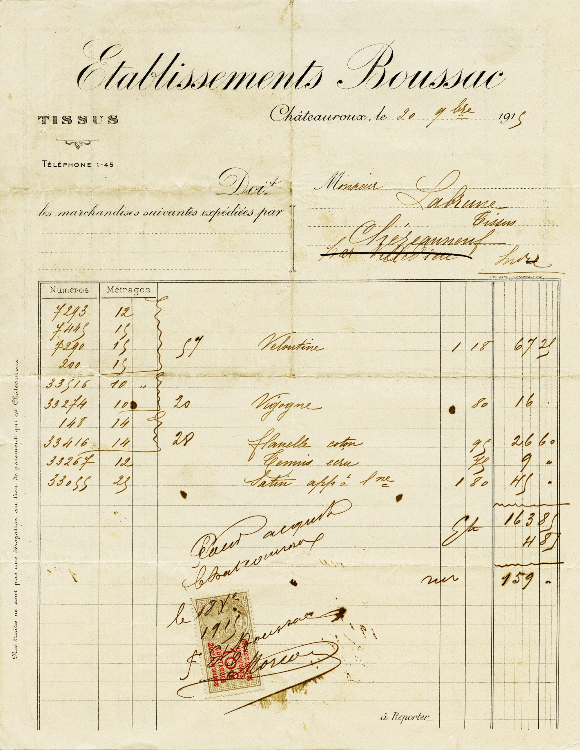 Vintage French Invoice Antique Receipt Old Document Free Digital - Free online receipts invoices vintage online stores