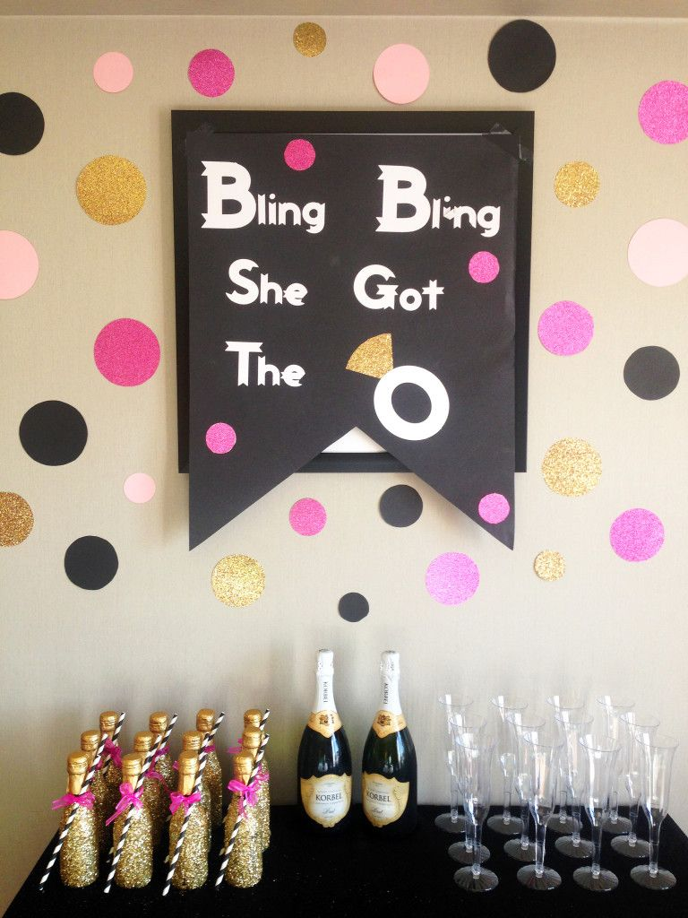 Bachelorette party pink black and gold party ideas for Bachelorette decoration party