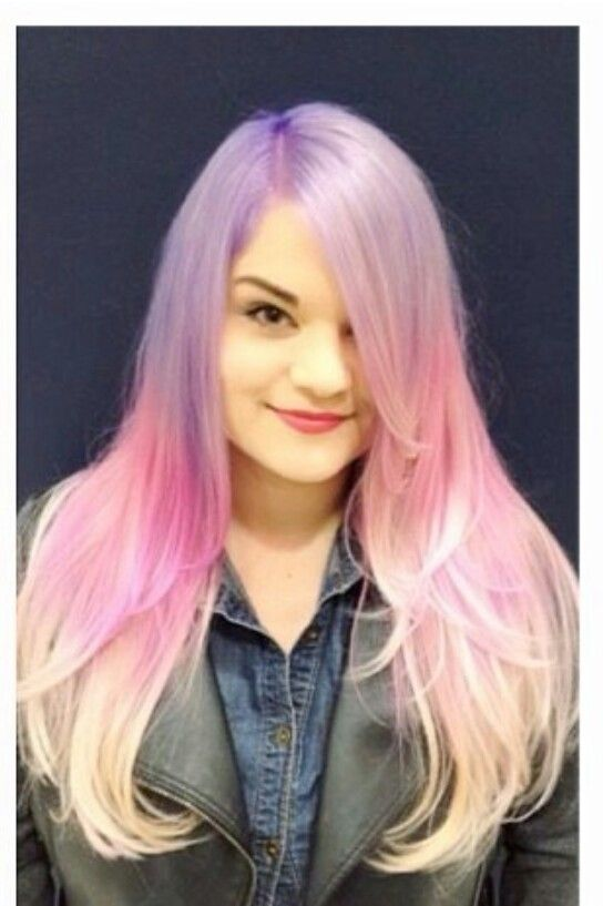 Pastel pink purple ombre hair