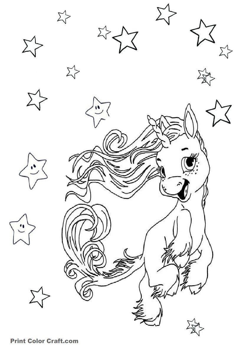 Baby Unicorn Coloring Pages Excited Baby Unicorn Coloring ...