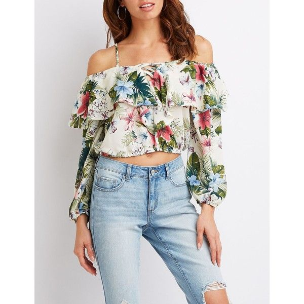 34f6ce005caff8 Charlotte Russe Floral Cold Shoulder Top ( 22) ❤ liked on Polyvore  featuring tops
