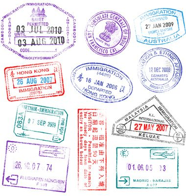 Highly Detailed Passport Stamps Vector By Fourleaflover On