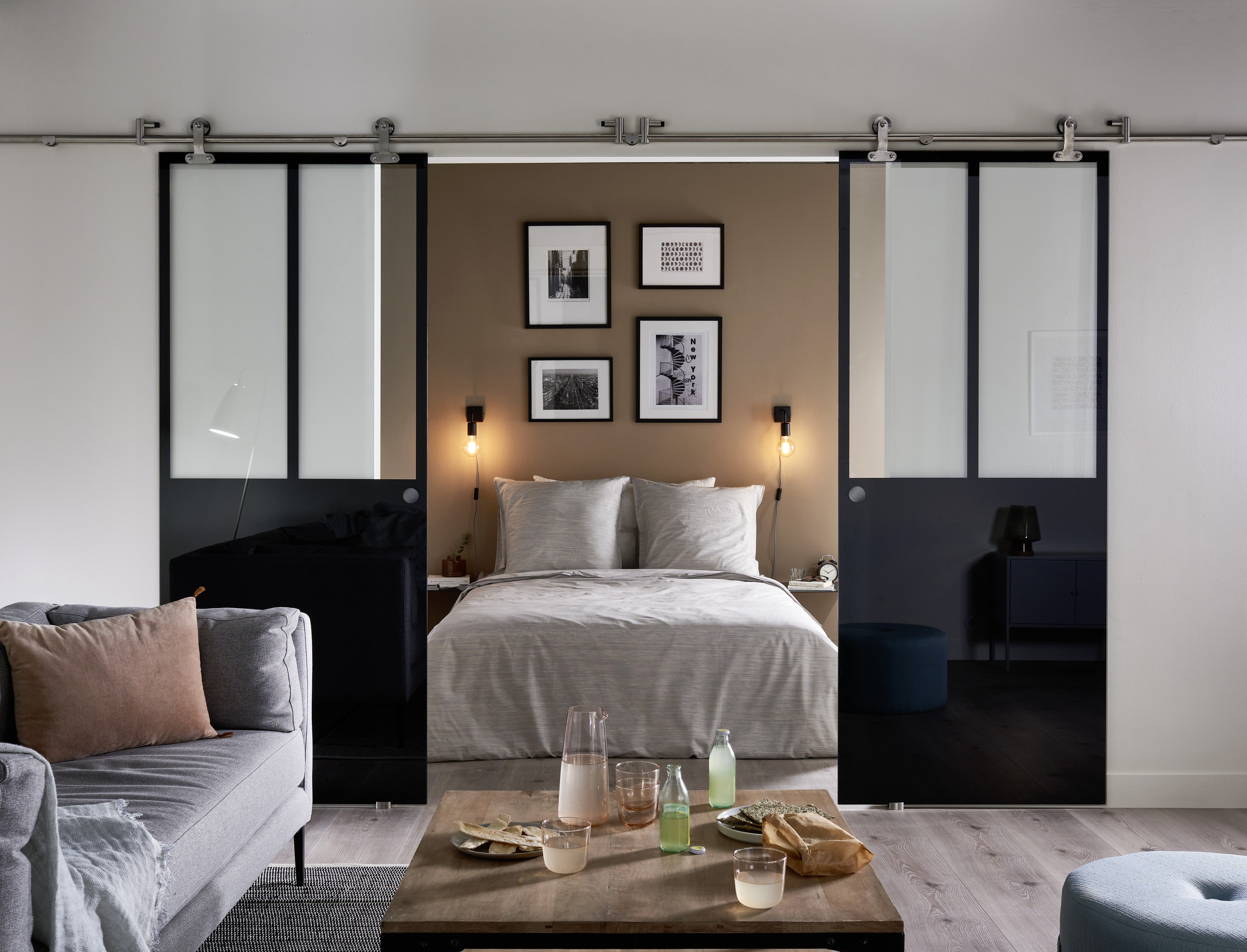 porte coulissante verre carbone v randa et verri re. Black Bedroom Furniture Sets. Home Design Ideas