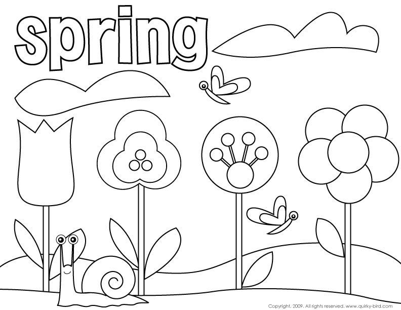 spring birds and flowers coloring pages | Jugando en Inglés ...