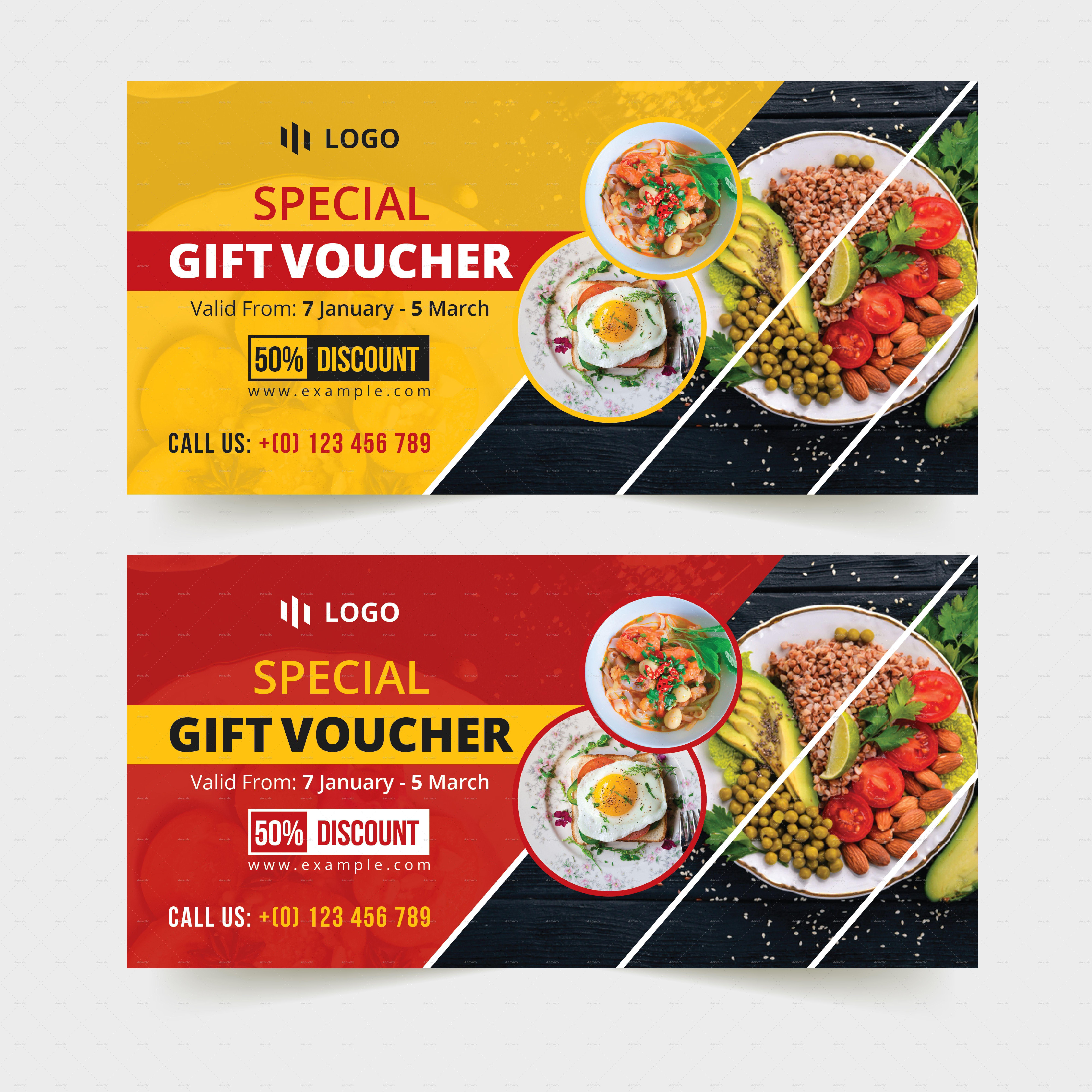 Food Restaurant Gift Voucher Template