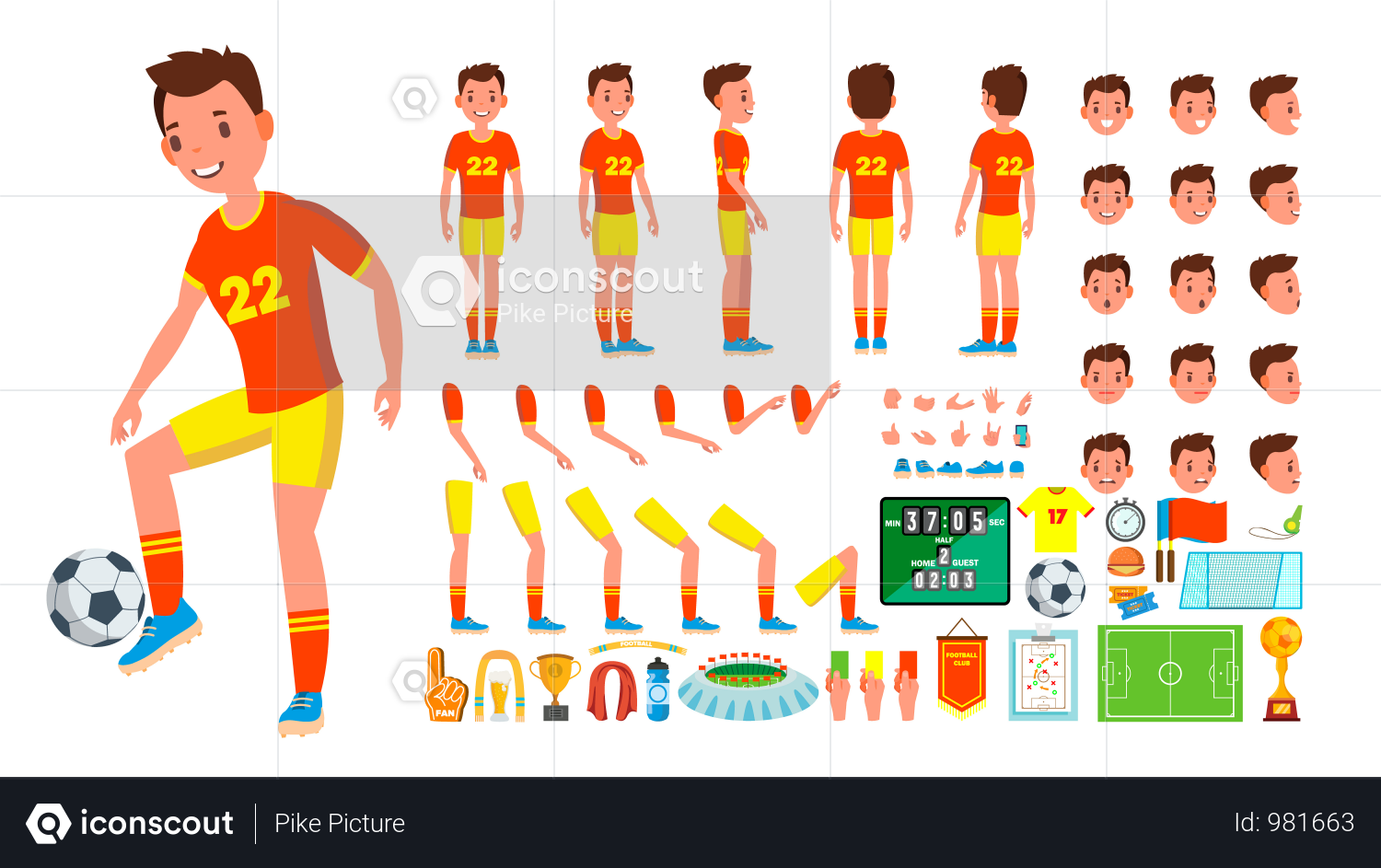 Premium Animated Character Creation Set Of Soccer Player Illustration Download In Png Vector Format Animated Characters Vector Animation Animation