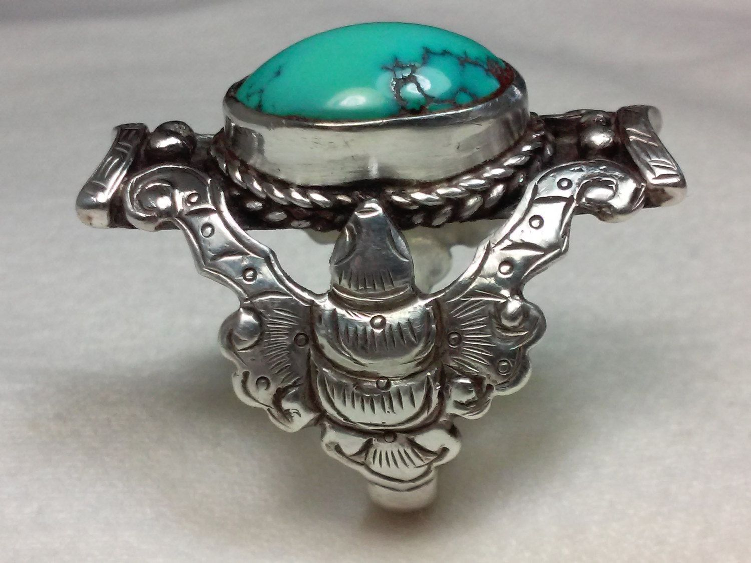 Eagle Turquoise Unisex Ring - Size 11.5 - 16x12mm Oval - Sterling Silver by MiketheRingman on Etsy