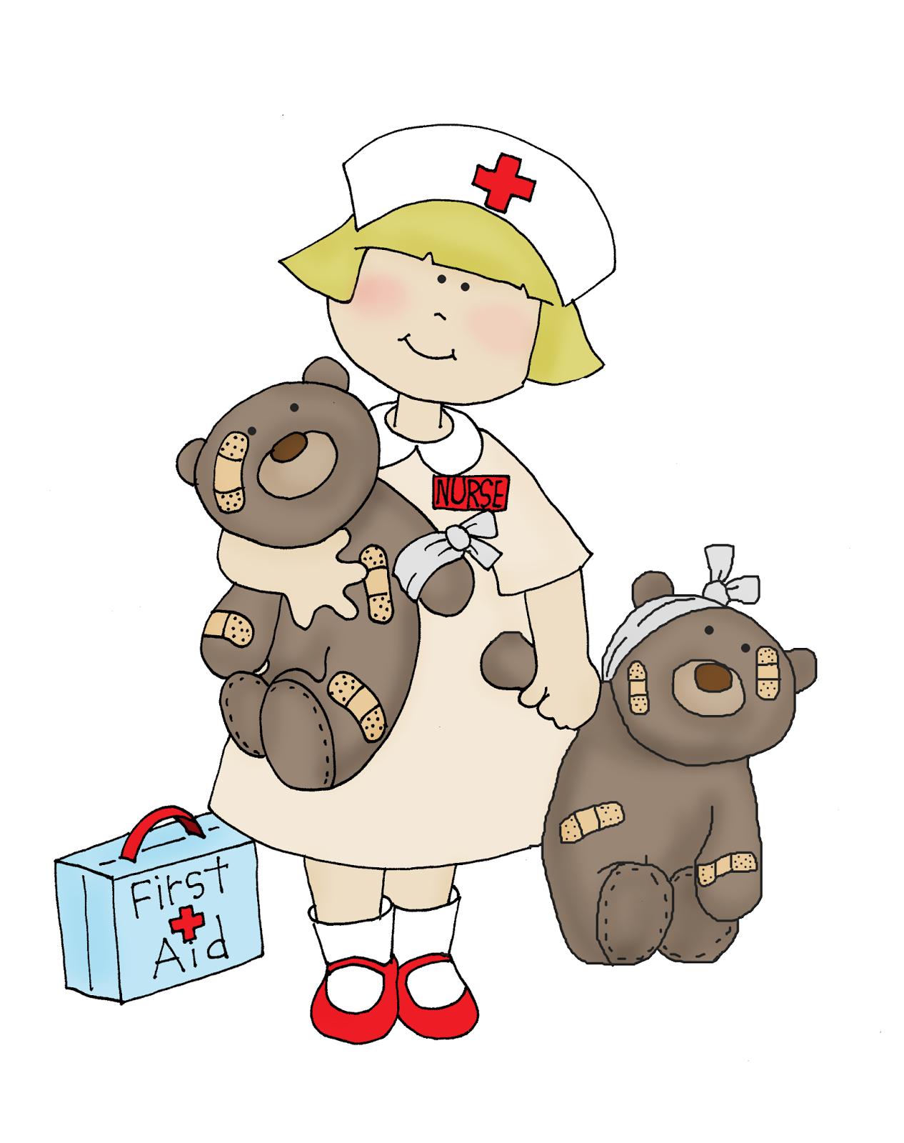 Free Dearie Dolls Digi Stamps Lil Nurse With Bears