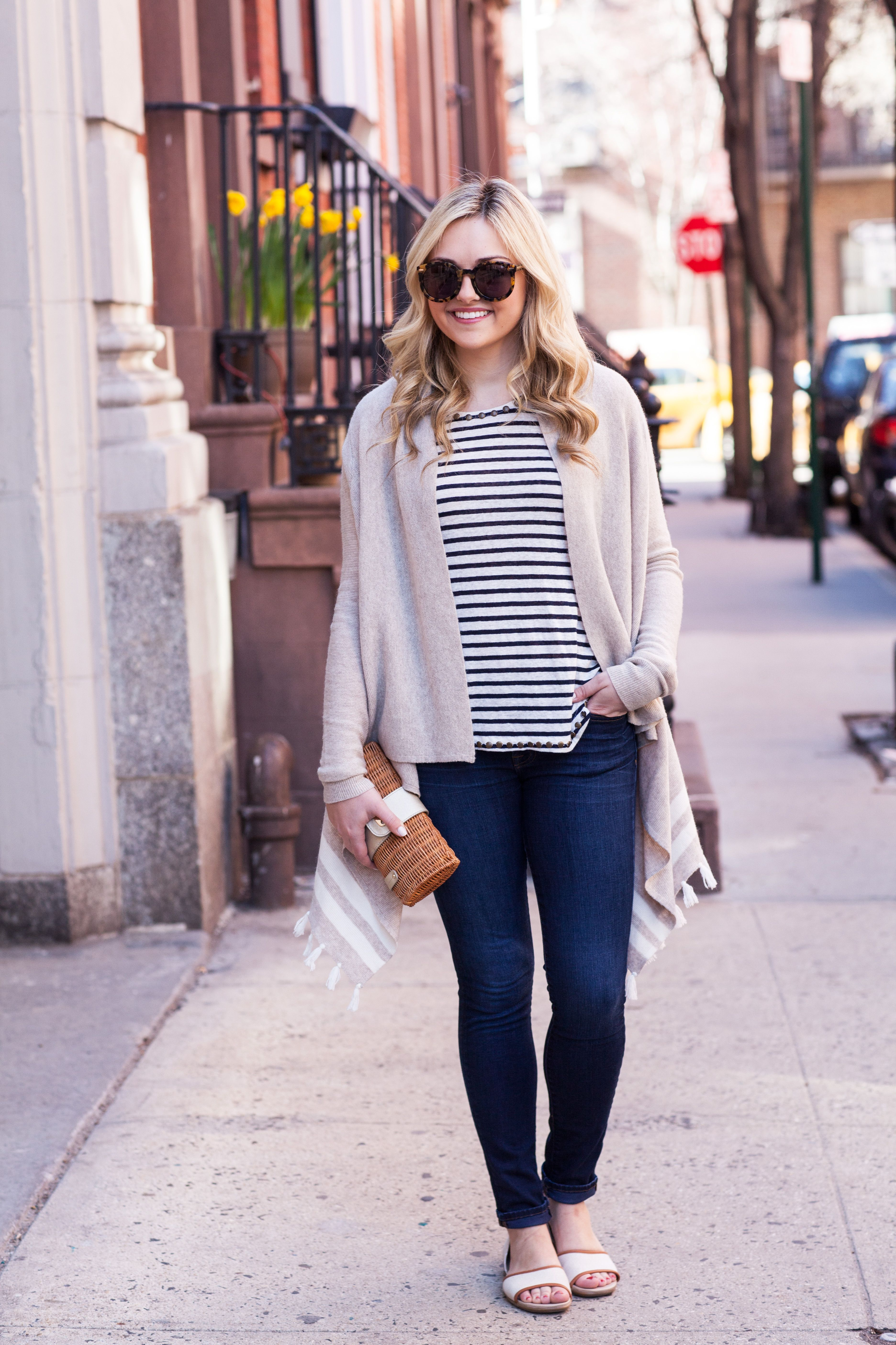 casual weekend outfit new york city spring stripes — bows  Casual