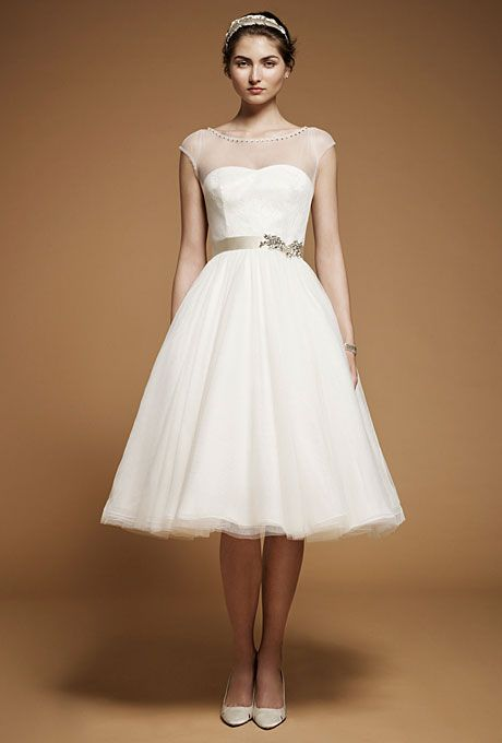 Boat Neck Chiffon Tea Length Wedding Dress