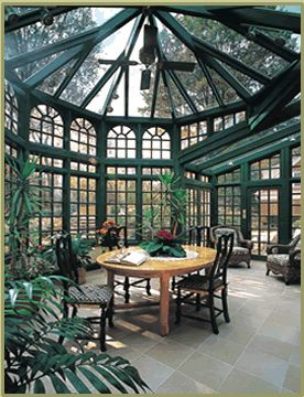 Conservatory With Forest Green Interior And Glass Roof Garden Room Window Greenhouse Winter Garden