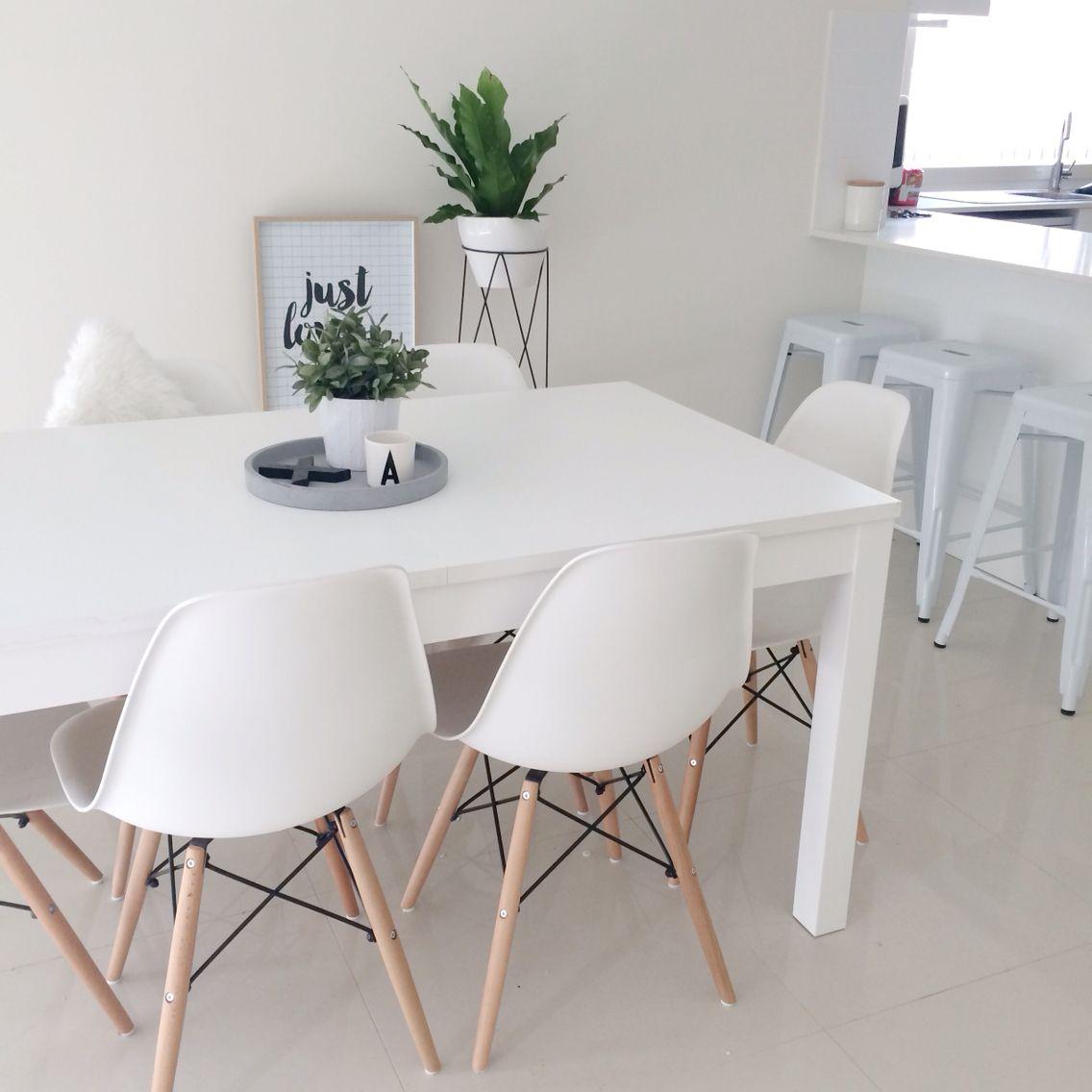 Simple Minimalist Dining Set: Dining Room. Eames, White, Green, Minimal.