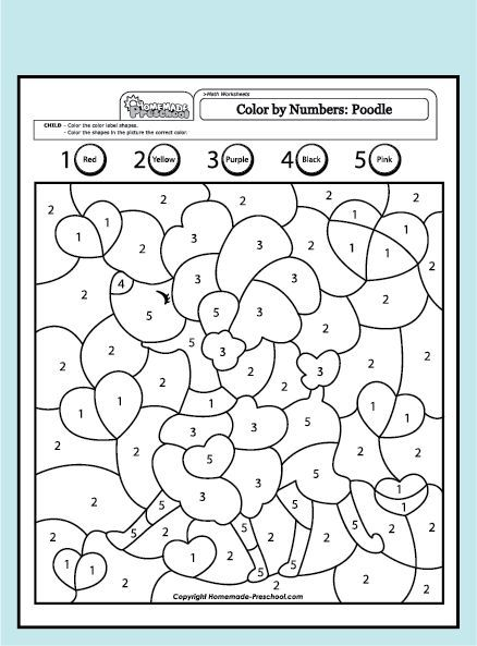 Color By Number Poodle Math Coloring Color By Numbers Coloring Pages