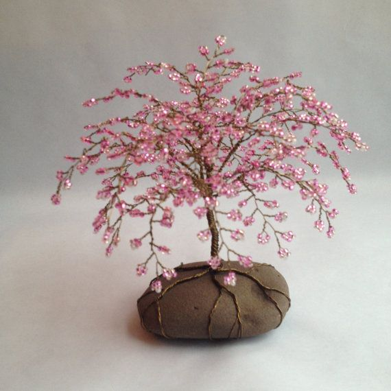 Whimsical Cherry Blossom Tree Cherry Tree Sculpture Beaded Decoration Unique Gift Glass Beads Pink Custom Made Tree Sculpture Cherry Blossom Tree Blossom Trees