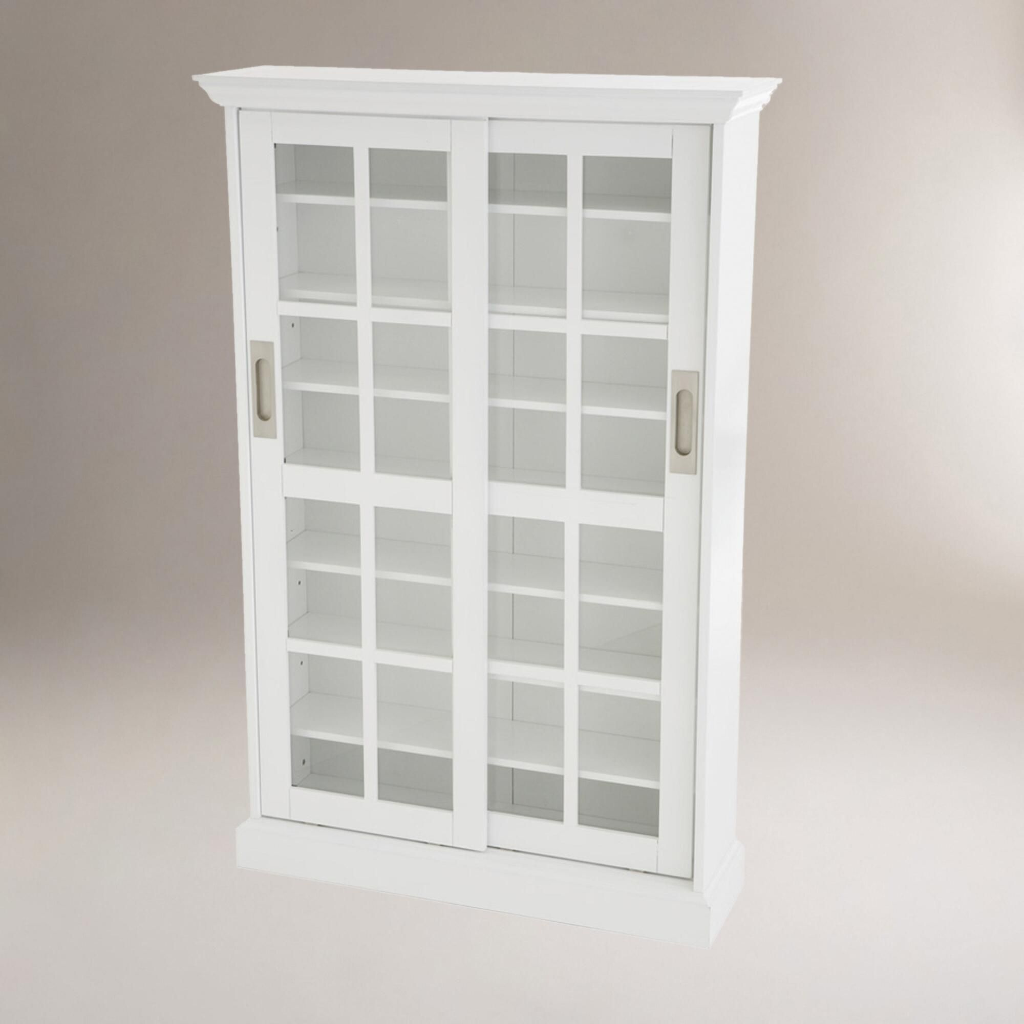 White Sliding Door Media Cabinet
