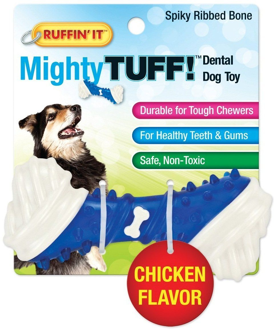 Ruffin It 80656 Spiky Ribbed Bone Dog Dental Toy Assorted Color