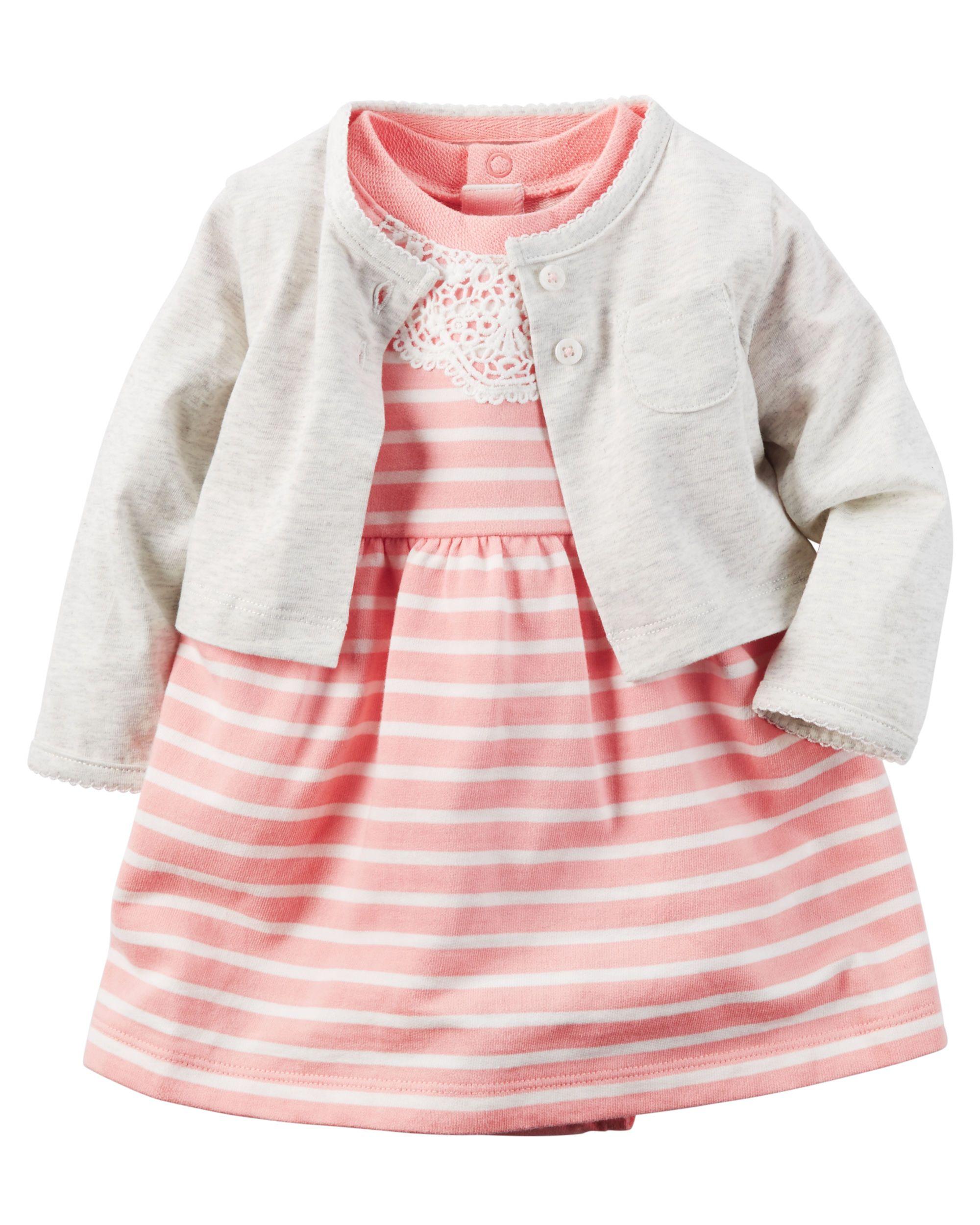 69af7a1b715 Baby Girl 2-Piece Bodysuit Dress   Cardigan Set