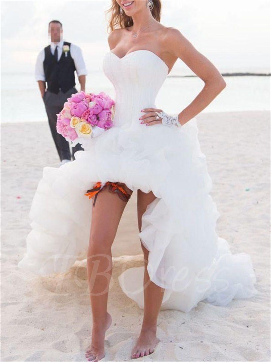 Beach wedding looks for bride  Sweetheart Pickups High Low Beach Wedding Dress  mtbdress