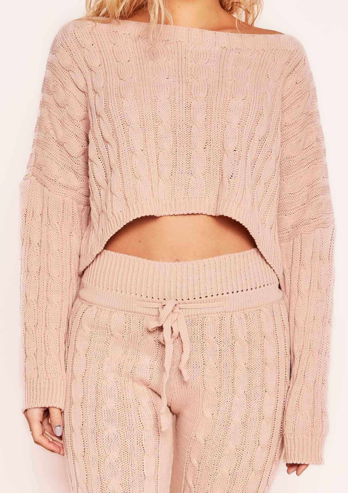 Rene Pink Cable Knit Cropped Loungewear Set in 2019 KNITs 562191ce3
